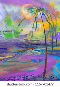 Abstract night seascape with palm. Surreal oil painting artwork.