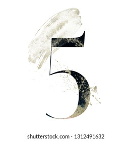 Abstract Number Font - textured digit 5 composition with brush stroke. Unique collection for wedding invites decoration and many other concept ideas.
