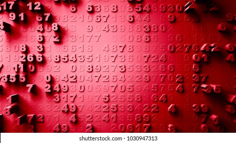Abstract Numbers Random Motion red color