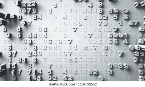 Abstract Numbers Random Motion white color 3d rendering