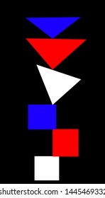 Abstract object of colored triangles and quadrilaterals on a black background.
