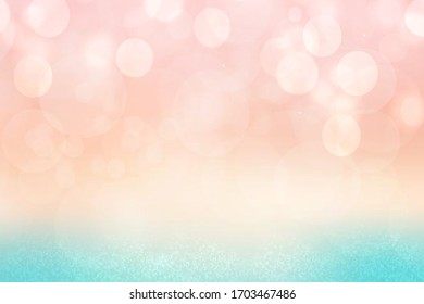 Abstract ocean background. Abstract bright tropical turquoise blue ocean texture with beautiful pink orange sunset. Beautiful backdrop for summer holidays and travel advertising.