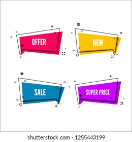Abstract offers banner.  Colorful bubble with promotion text. Set of geometric promo template. illustration