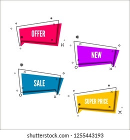 Abstract offers banner set.  Colorful bubble with promotion text. Set of geometric promo template. illustration