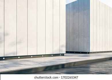Abstract office building wall with sunlight. 3D Rendering