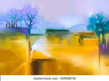 Abstract oil painting background.  Colorful yellow and purple sky oil painting landscape on canvas. Semi- abstract tree, hill and field, meadow. Sunset landscape oil painting nature background