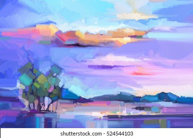 Abstract oil painting  landscape background. Colorful yellow and purple sky. oil painting outdoor landscape on canvas. Semi- abstract tree, hill and field, meadow. Sunset landscape nature background