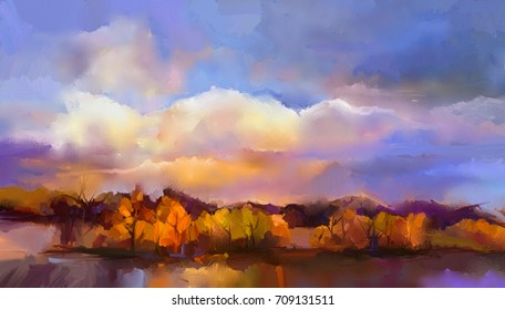 Abstract oil painting landscape. Colorful yellow, purple sky. Oil painting outdoor landscape on canvas. Semi- abstract tree, hill and field, meadow. Sunset, fall season landscape nature background