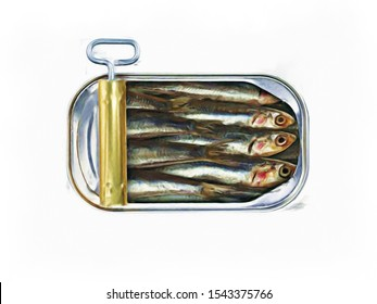 Abstract oil painting of opened tin can of sardines on white background
