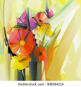 Abstract oil painting of spring flower. Still life of yellow and red gerbera flowers. Hand Paint floral Impressionist style