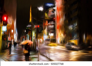 Abstract Oil Painting Tokyo City Oil Painting Abstract