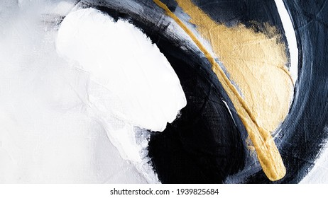 Abstract oil texture background. Abstract art gold backdrop. Luxury glamorous shiny festive soft wallpaper. Stylish, trendy and posh abstraction. Paint on canvas. Contemporary art.