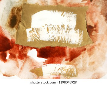Abstract oil and watercolor painting on paper background illustration