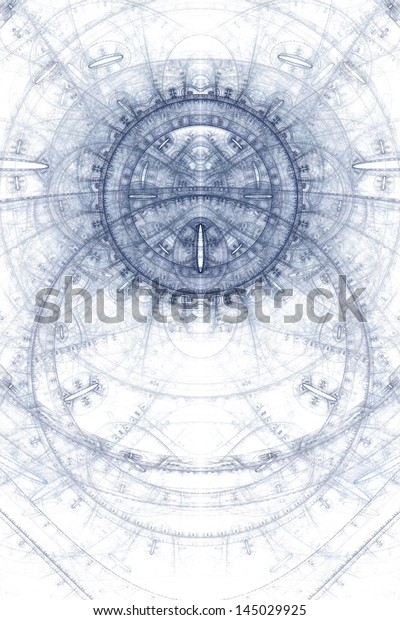 Abstract old alchemical symbols theme, blue on white