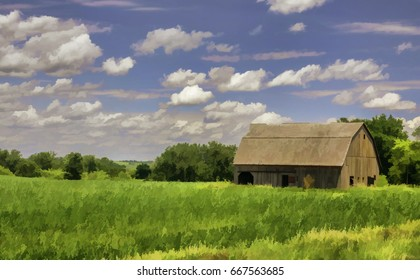 Abstract of old barn and corn field on a sunny afternoon in Iowa, USA, with digital painting effect, for agricultural and rural themes