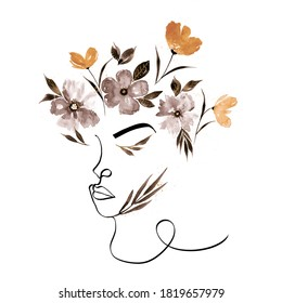 Abstract One Line Drawing Woman Face with Watercolor Flowers and Leaves Pattern Isolated Background