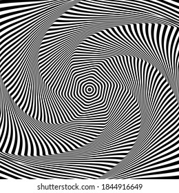 Abstract op art design. Illusion of rotation and torsion movement.