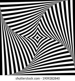 Abstract op art design. Whirl twisting movement illusion.