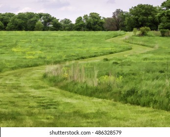 Abstract of open field with grassy trail winding into woodland in springtime, northern Illinois, USA, with digital painting effect, for recreational and environmental themes