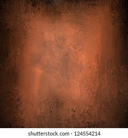abstract orange background or brown background with vintage grunge background texture design, warm autumn background invitation or web template, copper background with black grunge border for brochure