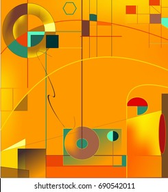Abstract  orange  background ,inspired by the  painter kandinsky