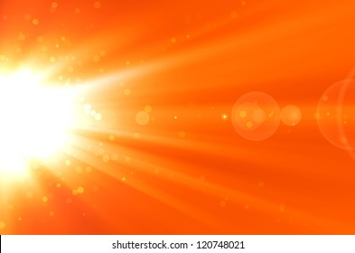 abstract orange background with lens flare