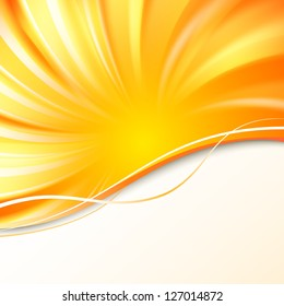 Abstract orange cover with smooth lines Illustration.