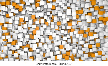 Abstract orange cubes background