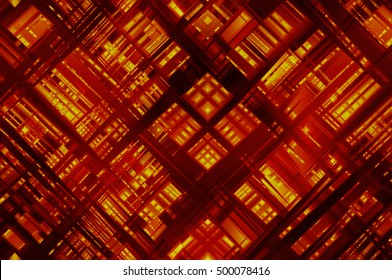 Abstract orange fractal background with various color lines and strips. illustration technology.