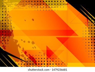 Abstract Orange Grunge Background and Texture. JPEG Illustration with Halftone for Comic Book and Journal