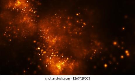 Abstract orange sparkles. Fantasy holiday background. Digital fractal art. 3d rendering.