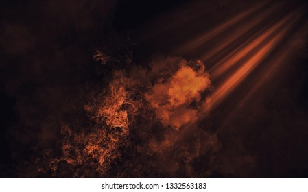 Abstract orange spotlight with mistery smoke texture. Design element.