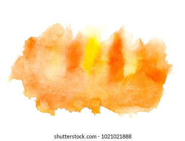 abstract orange watercolor on white background.splash by art hand drawn for text