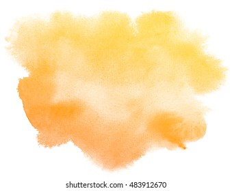 Abstract orange watercolor on white background.The color splashing on the paper.It is a hand drawn.