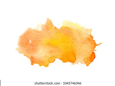 abstract orange watercolor splashing background.color shades by hand pained on the paper