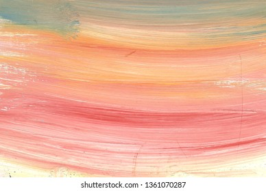 Abstract orange, yellow, pink  gouache background. Handmade artistic violet paint texture for desktop wallpaper