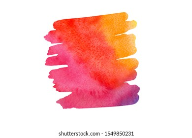 Abstract orange yellow red pink watercolor textured background on white isolated background