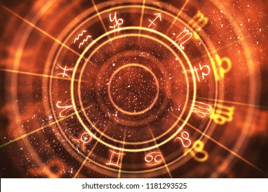 Abstract orange zodiac wheel background. Fortune telling and luck concept. 3D Rendering
