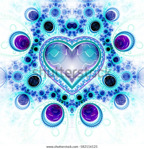 Abstract ornamented heart with gems. Fantasy detailed fractal background in violet, black and blue colors. Digital art. 3D rendering.