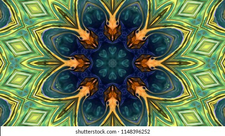 Abstract Paint Brush Ink Explode Spread Smooth Concept Symmetric Pattern Ornamental Decorative Kaleidoscope Movement Geometric Circle and Star Shapes