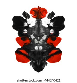 Abstract paint watercolor inkblot test rorschach  isolated on white background