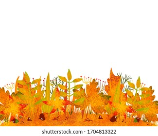 Abstract painted autumn grass background. Raster illustration.