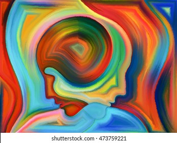 Abstract painted design of human heads on the subject of karma, fate and destiny.