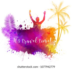 Abstract painted grunge splash shape with silhouettes. Travel concept - partying people, palm trees. It's party time text. Multicolored. Vector illustration.