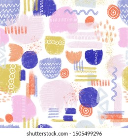 Abstract painted shapes seamless pattern with chaotic paint elements. Hand drawn brush texture with different dots, lines and shapes. Fun and simple abstract background blue orange purple gold.