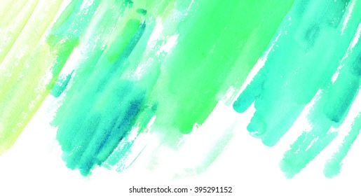 Abstract painted watercolor background blue yellow green