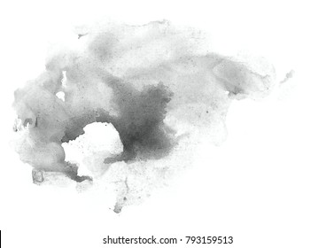 Abstract painted watercolor background on paper. Neutral Gray.