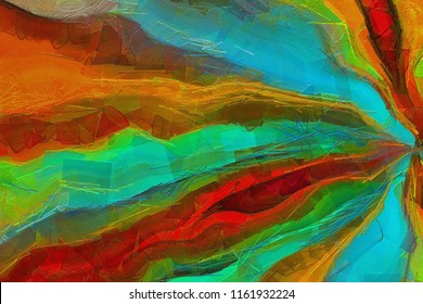 Abstract painting background. Chaotic brush strokes of paint on canvas. Impression bright colors.