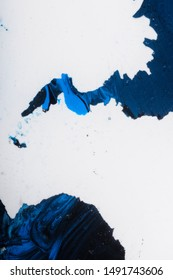 Abstract painting, blue, black and white