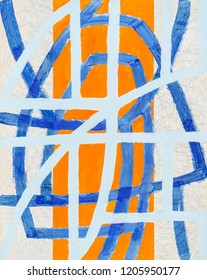 An abstract painting, blue and orange, with broken brushstrokes.